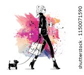 fashion girl in sketch style on ... | Shutterstock . vector #1150071590