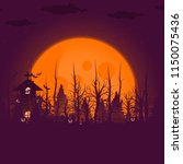 happy halloween background and... | Shutterstock .eps vector #1150075436