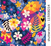 flowers pattern - stock photo