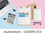 workplace with weekend loading... | Shutterstock .eps vector #1150091723
