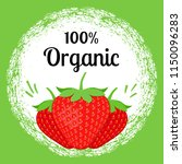 strawberry 100  organic poster. ... | Shutterstock .eps vector #1150096283