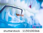 dentist cleaning teeth with... | Shutterstock . vector #1150100366