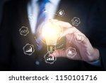 businessman holding illuminated ... | Shutterstock . vector #1150101716