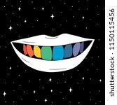hand drawn rainbow teeth in... | Shutterstock .eps vector #1150115456