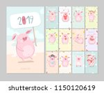 cute calendar 2019 with pig... | Shutterstock .eps vector #1150120619
