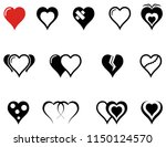 set of hearts icons with red... | Shutterstock .eps vector #1150124570
