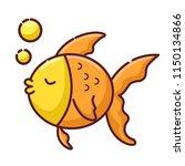 gold fish cartoon | Shutterstock .eps vector #1150134866