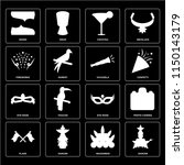 set of 16 icons such as dancer  ...