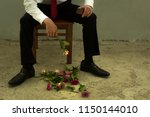 a brokenhearted man rejected on ... | Shutterstock . vector #1150144010