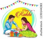 rakhi celebration in india... | Shutterstock .eps vector #1150144283