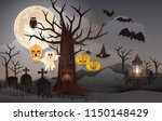 halloween night party with... | Shutterstock .eps vector #1150148429