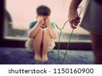 mother hit her kid  children... | Shutterstock . vector #1150160900