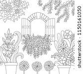 window and beautiful garden for ... | Shutterstock .eps vector #1150161050
