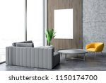 gray sofa and yellow armchair... | Shutterstock . vector #1150174700