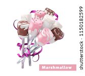 marshmallow of different colors ... | Shutterstock .eps vector #1150182599
