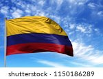 national flag of colombia on a... | Shutterstock . vector #1150186289