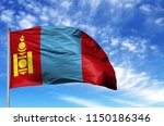 national flag of mongolia on a... | Shutterstock . vector #1150186346