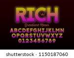 modern neon style font ... | Shutterstock .eps vector #1150187060