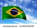 national flag of brazil on a... | Shutterstock . vector #1150190249
