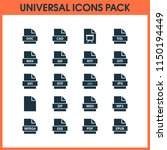 types icons set with pdf  exe ... | Shutterstock . vector #1150194449