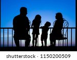 happy family at the dawn of the ... | Shutterstock . vector #1150200509