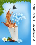 iced coffee pouring down into a ... | Shutterstock .eps vector #1150224899