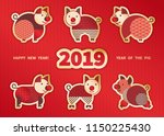 pig is a symbol of the 2019... | Shutterstock . vector #1150225430