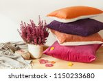 colorful cushions throw cozy... | Shutterstock . vector #1150233680