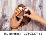 caramelized banana champurrado. ...   Shutterstock . vector #1150237463