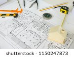 architecture desk with... | Shutterstock . vector #1150247873
