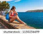 tourist woman in cadaques ...   Shutterstock . vector #1150256699