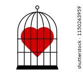 red heart in cage. vector... | Shutterstock .eps vector #1150263959