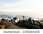 waves and surfing at burleigh... | Shutterstock . vector #1150264103
