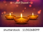 illuminated oil lamps  diya  on ... | Shutterstock .eps vector #1150268099