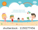 group of children play on the... | Shutterstock .eps vector #1150277456
