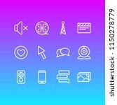illustration of 12 media icons... | Shutterstock . vector #1150278779