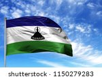 national flag of lesotho on a... | Shutterstock . vector #1150279283