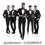 group of five elegant men... | Shutterstock . vector #1150280519