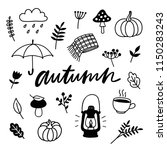 autumn doodle set. cozy fall... | Shutterstock .eps vector #1150283243