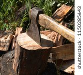 preparation of firewood for the ... | Shutterstock . vector #1150285643