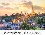 yangon skyline with shwedagon... | Shutterstock . vector #1150287020