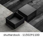 black opened box mockup on... | Shutterstock . vector #1150291100