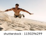man doing fitness workout at a... | Shutterstock . vector #1150296299