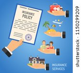 insurance services concept with ... | Shutterstock .eps vector #1150299209