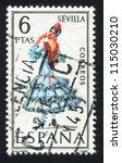 spain   circa 1970  stamp... | Shutterstock . vector #115030210