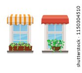 Two Windows With Awnings And...