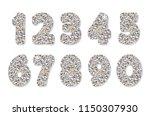 glitter silver numbers set.   Shutterstock .eps vector #1150307930