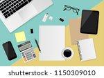 blank white paper with digital... | Shutterstock .eps vector #1150309010
