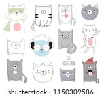 vector collection of cute... | Shutterstock .eps vector #1150309586