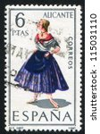 spain   circa 1967  stamp... | Shutterstock . vector #115031110
